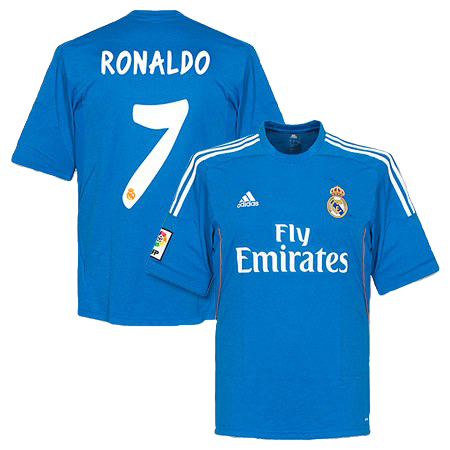 3cc93697f19 Description  Cristiano Ronaldo and Real Madrid away blue jersey kit  2013 2014. Shirt Number  7